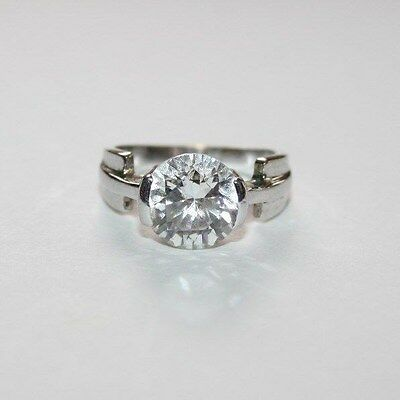Vintage Art Deco Large Crystal Solitaire White Metal Ring