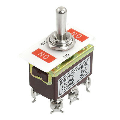 AC 250V/15A 125V/20A ON/OFF/ON 3 Position DPDT Momentary Toggle Switch SH S L2H0
