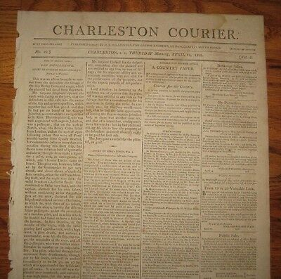 1804 Charleston Courier, Sale of 690 Prime Angola Negroes, Sold Off Slave Ship