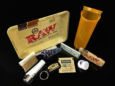 RAW COMBO KIT w/ TRAY, ORANGE 60 DRAM POP TOP, PAPERS, LIGHTER, BOVEDA PLUS MORE