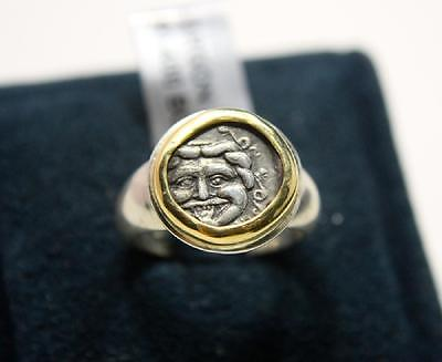 Ancient Greek Silver coin set in Silver and gold ring c.400 BC. Authentic Greek