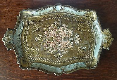 Vintage Florentine Dresser Tray Small Teal Gold Italian Tole Shabby Chic Italy