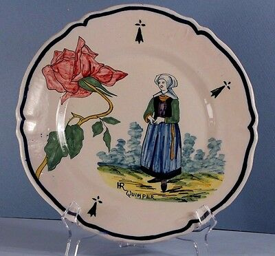 Antique HR QUIMPER French Faience Plate: Breton Lady+ Botanical Pink Rose Branch