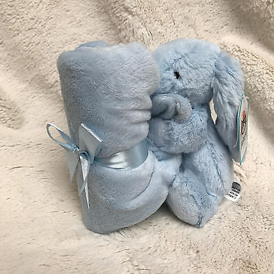 Jellycat Bashful Bunny Plush Toy & Soother Blanket - Blue