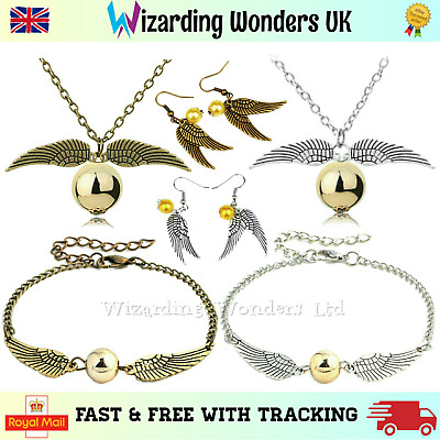 Harry Potter Golden Snitch Bracelet Necklace Earrings Charm Silver or Bronze UK