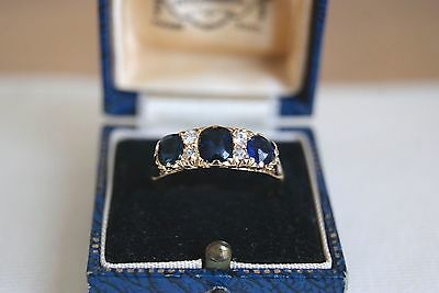 Fine Antique Victorian 18 Carat Gold Sapphire & Diamond Half Hoop Ring P (3.3G)