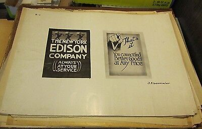 1910 Era New York Edison Company Artist Signed Original Advertising Art Vintage