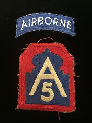 Original-WW-2-5th Army Airborne Patch and Tab Military Patches - 2