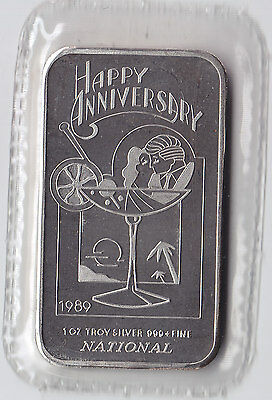 1989 Happy Anniversary National .999 Fine Silver Art Bar - Sealed