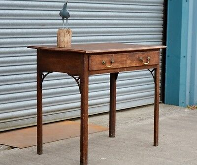 Antique Solid Oak Console Hall Table Desk With Drawer.