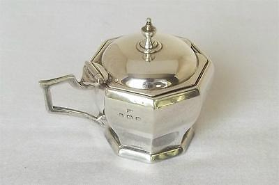 A Solid Sterling Silver Octagonal Shaped Art Deco Mustard Pot & Liner Dates 1928