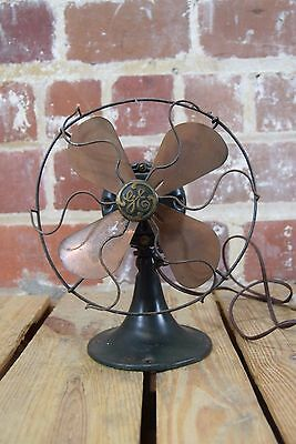 "Vintage 1930's GE General Electric 9"" Brass Blade Fan with Dark Green Base"
