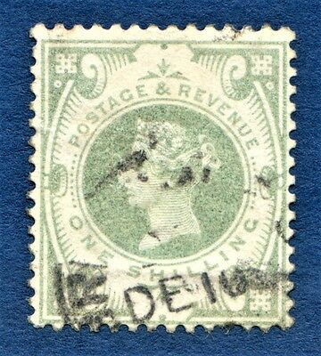 GB QV 1887-92 1s Dull Green SG211 Used