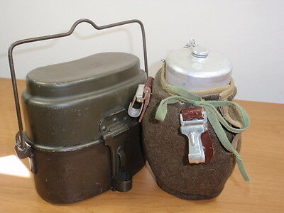 Poland Army Soldiers Tin Water Canteen  Bottle and  Mees Kit  set