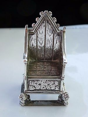 *antique Edward Vii 1902 Silver Miniature Coronation Throne * Saunders Shepherd