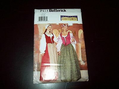 History Costume Pattern Maiden, New, Uncut Butterick P413 For Petite Women