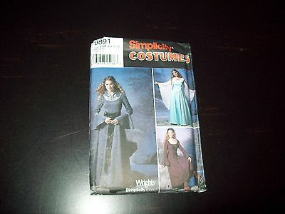 Simplicity Costume Pattern Ladies Dress, Sleeve Wings # 9891 Sz. 6-12 Uncut New
