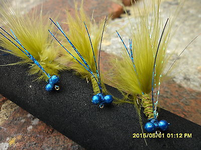 6 Blue Flash Damsel Trout Lures Fly Fishing Trout Flies with Blue Head