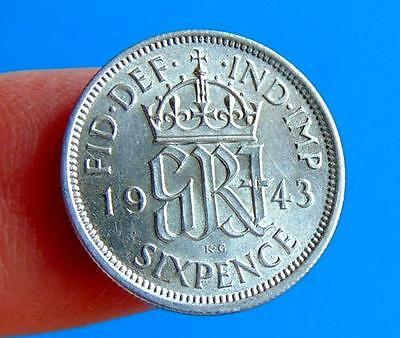 QUALITY  GEORGE  VI  1943  SILVER  SIXPENCE  6d....UNC  GRADE  LUCIDO_8  COIN