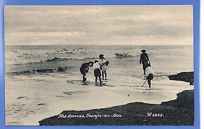 SUPER 1912c children taddling sands TOWYN-ON-SEA WALES WYNDHAM VINTAGE POSTCARD