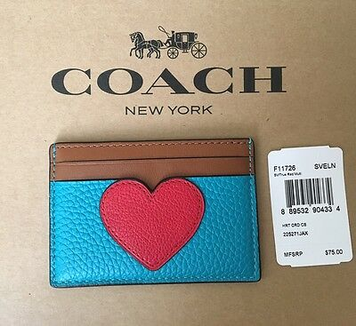 NWT COACH True Red Heart Flat Card Case Holder Pebbled Leather F11726 MSRP $75