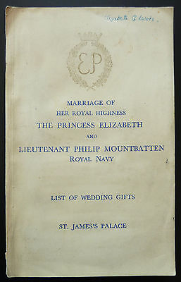 Princess Elizabeth Philip Mountbatten Marriage List of Wedding Gifts 1947 Royal