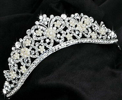 Bridal Wedding Prom Sparkling Butterfly Crystal Crown Tiara Headband HB1024