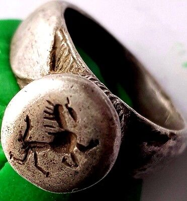 Beautiful Silver Roman Ring With A Horse Seal
