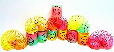 12 Pieces  Rainbow Spring Coil Slinky Fun Kids Toy Magic Stretchy Bouncing New