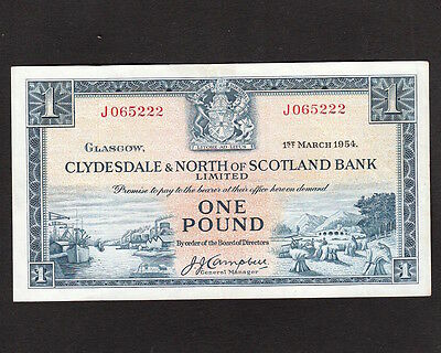 CLYDESDALE & NORTH OF SCOTLAND BANK 1954 ONE POUND BANKNOTE SERIAL No. J065222