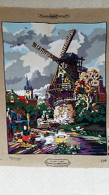 "Handworked completed French tapestry ""WINDMILL"" 50cm x 65cm (19 3/4""x 25"")"