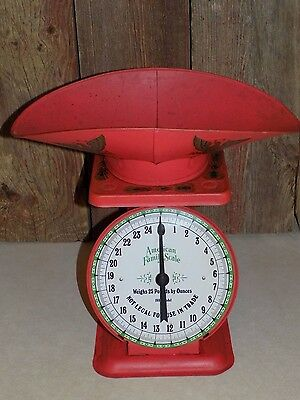 Vtg AnTiQue AMERiCAN FamiLY SCaLE 25 Lb.capaciTy RED MeTaL w/ScooP 1906 ModeL