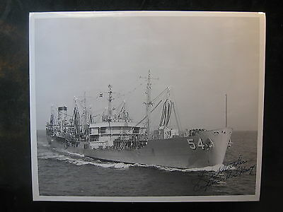 Vintage US Navy 8 x 10 Photo USS Chikaskia Signed By Commanding Officer 1006