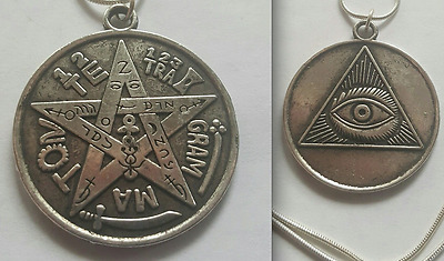 All Seeing Eye Occult Tetragrammaton Charm Magick Amulet S.silver Necklace Luck