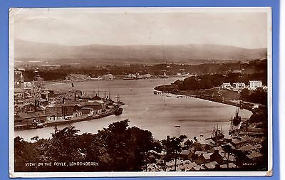 Super 1939 View On The Foyle Londonderry Rp Real Photo Vintage Postcard