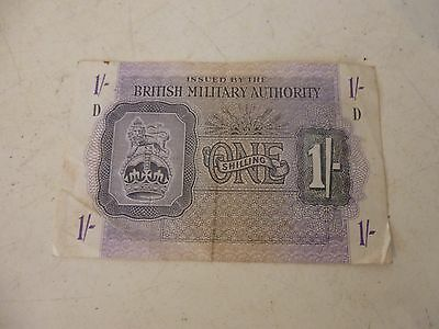"RARE WW11 BRITISH MILITARY AUTHORITY 1943 BLOCK ""D"" England 1 Shilling Note"