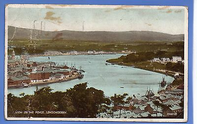 Super 1932 View On The Foyle Londonderry N Ireland Vintage Postcard