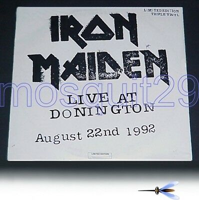 "Iron Maiden ""live At Donington"" Rare Triple Lp Made In Italy - Sealed"