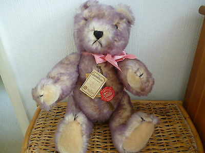 """VINTAGE LIMITED EDITION HERMANN MOHAIR BEAR 2 COLOUR TIPPED 16"""" No. 264 of 2000"""