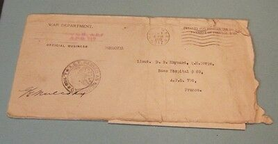 1919 US Army General Rogers Chief Quartermaster AEF Censored Letter APO 717 798
