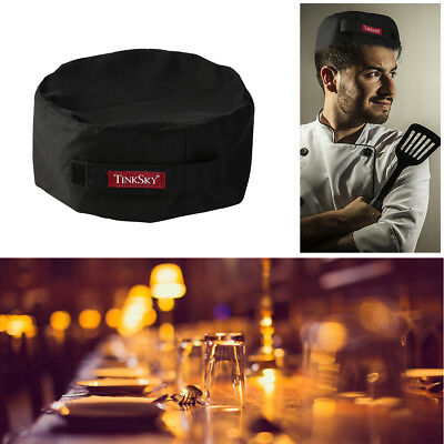 TINKSKY One Size Adjustable Strap Catering Skull Cap Chefs Hat Mesh Top (Black)
