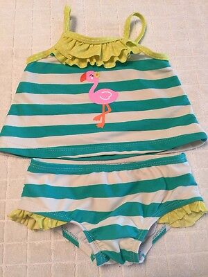 Carter's Infant Girls Tankini Swim Suit 6 9 Months 2 Piece Green White Stripes