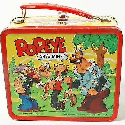 Vintage Popeye Metal Lunchbox - Aladdin Industries 1980- No Thermos