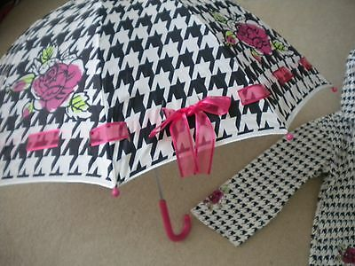Kidorable Houndstooth Umbrella The English Roses collection girls rain gear NWTS
