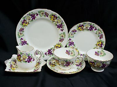 Vintage Crown Staffordshire Bone China Pansy Tea Set for One