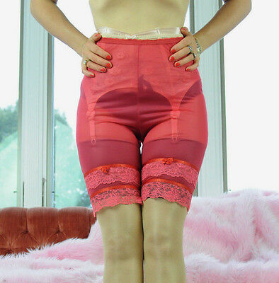 VTG Glydons Coral Red Sheer Soft Nylon Fancy Lace Bloomers Half Slip Shorts sz S
