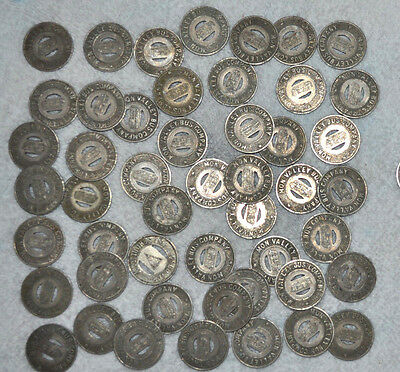 Vtg BUS TOKENS Mon Valley Bus Company PITTSBURGH PA Lot of 50 jewelry repurpose