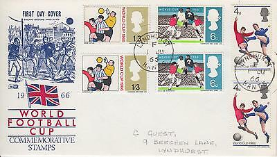 GB 1966 World Cup (ord and phos) on same illustrated FDC LyndHURST CDS Connected
