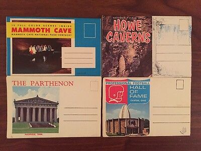 Souvenir POSTCARD FOLDERS Lot of 16 Vintage USA State Attractions SD NY FL CO