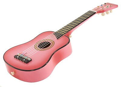 """25"""" Children's Kids Toy Acoustic Guitar Pink with Bag and Accessories"""